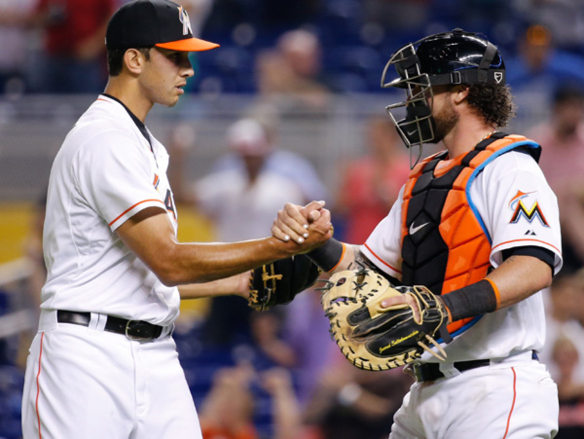 Steve Cishek and Jarrod Saltalamacchia are two Marlins leading the early charge. (Rob Foldy/Getty Images)