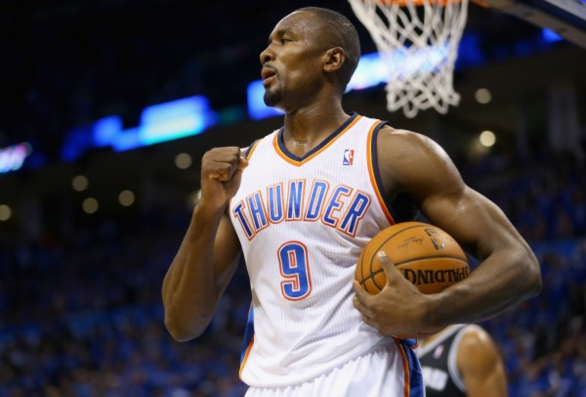 Serge Ibaka and the Thunder's interior defense limited the Spurs to 39 percent shooting in Game 3. (Ronald Martinez/Getty Images)