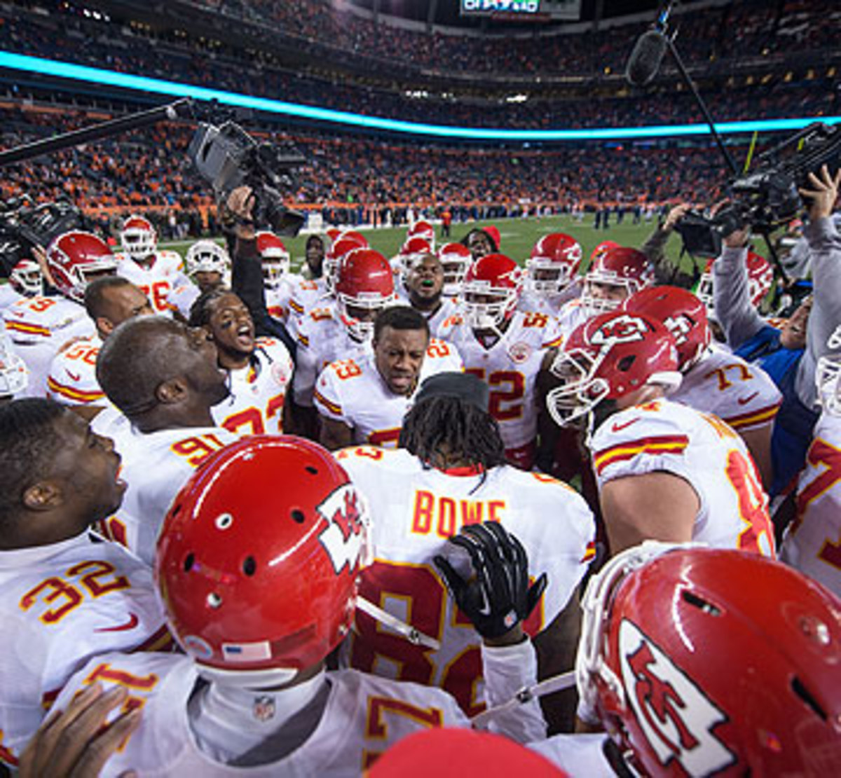 Eric Berry, center, has been a leader on the Chiefs since he arrived in 2010. (Rob Tringali/Getty Images)