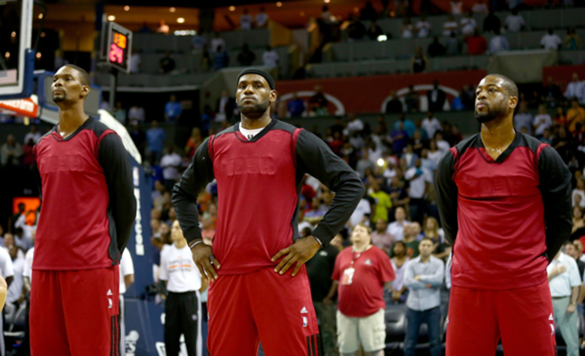 The Heat turned their shirts inside-out to protest Donald Sterling. (Streeter Lecka/Getty Images Sport)