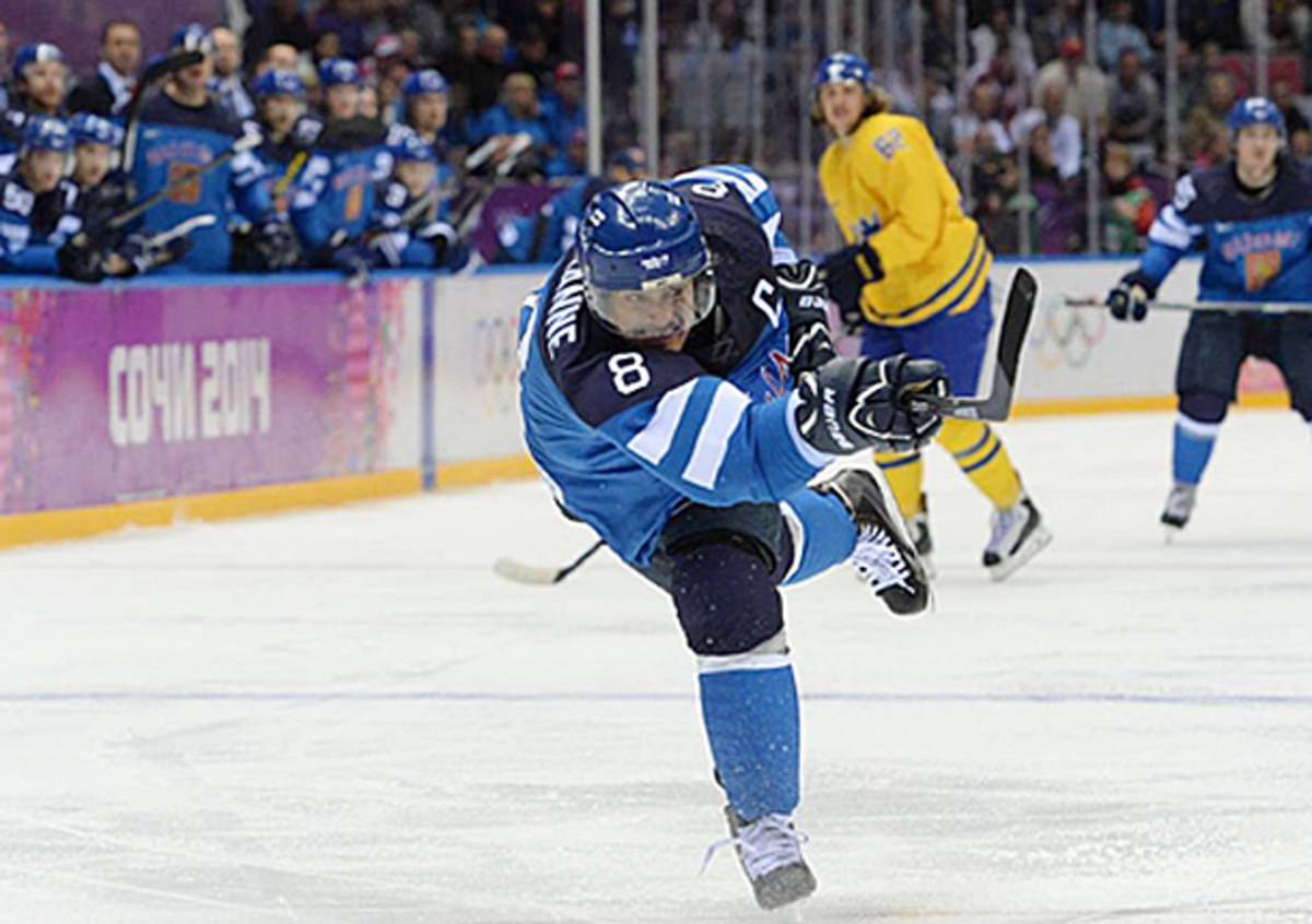 Teemu Selanne of Team Finland during the 2014 Sochi Winter Olympics