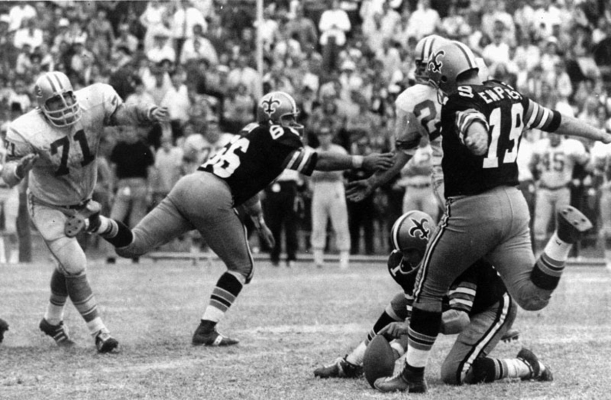 Dempsey's right foot was a source of pride for the hapless New Orleans Saints. (AP Photo/Files)