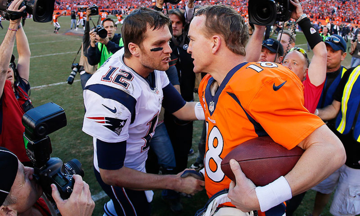 The 38-year-old Manning and the 37-year-old Tom Brady have different perspectives on how long they'd like to keep playing in the NFL. (Kevin C. Cox/Getty Images)