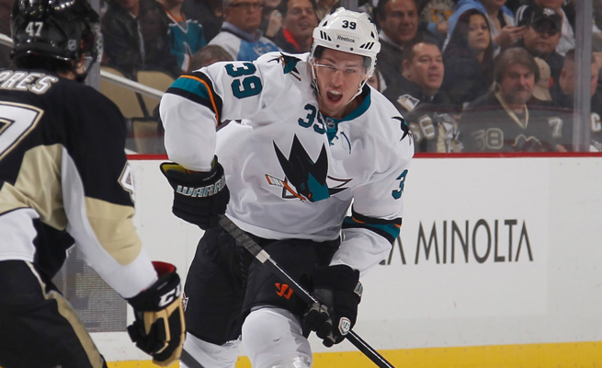 Logan Couture is the Sharks' fourth-leading scorer with 14 goals and 35 points through 43 games this season.