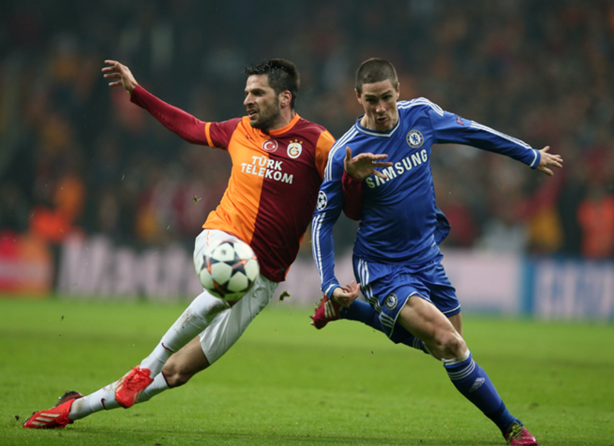 Fernando Torres, right, scored an opener for Chelsea, but the Blues go into the home leg of their Champions League round of 16 tie vs. Galatasaray level at 1-1.