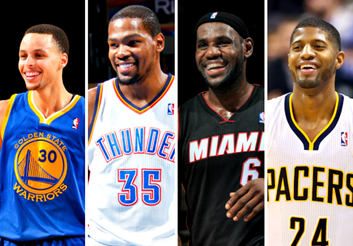 Stephen Curry and Paul George should join LeBron James and Kevin Durant as All-Star starters. (Nathaniel S. Butler/Layne Murdoch Jr./Allen Einstein/Andy Lyons/NBAE via Getty Images)