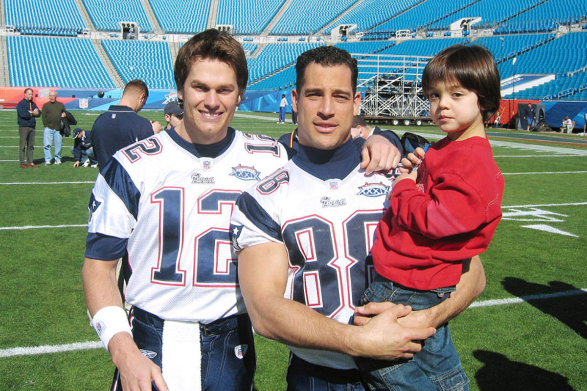 Brady with Christian Fauria and Fauria's son Caleb at Super Bowl. (Courtesy Christian Fauria)