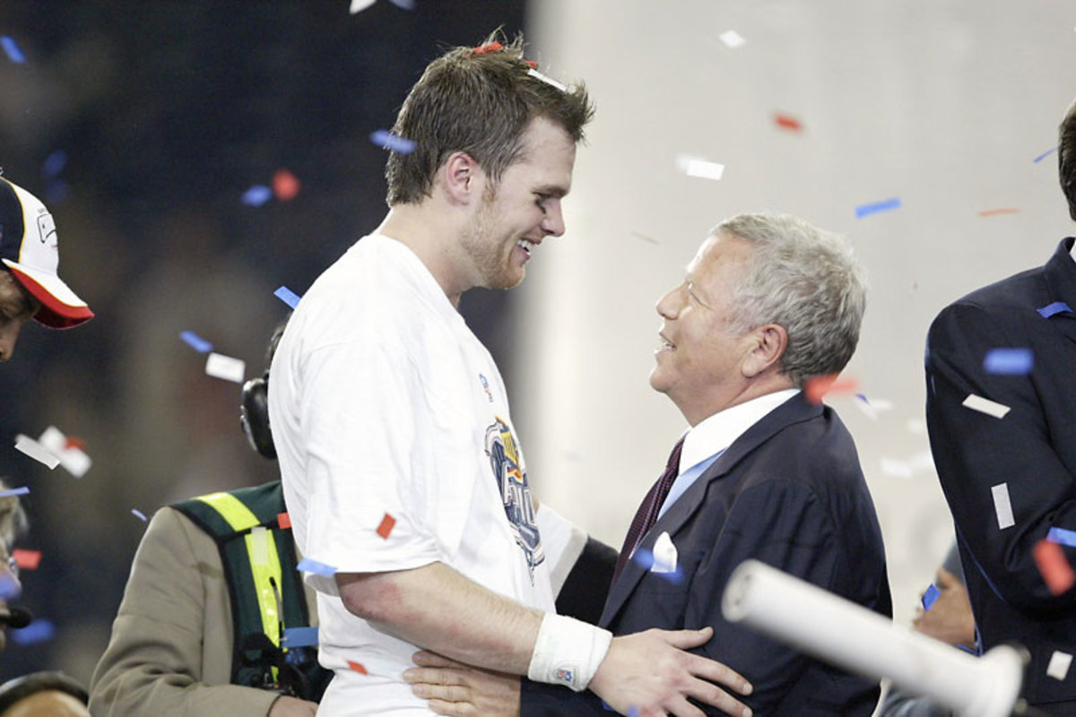 Brady and Robert Kraft after the Super Bowl XXXIII win. (Al Tielemans/Sports Illustrated)