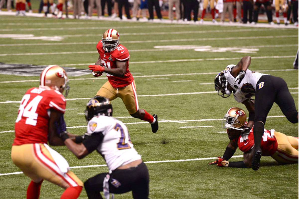 Frank Gore's Super Bowl XLVII touchdown was a classic Walsh play with modern pre-snap dressing. (John W. McDonough/Sports Illustrated)
