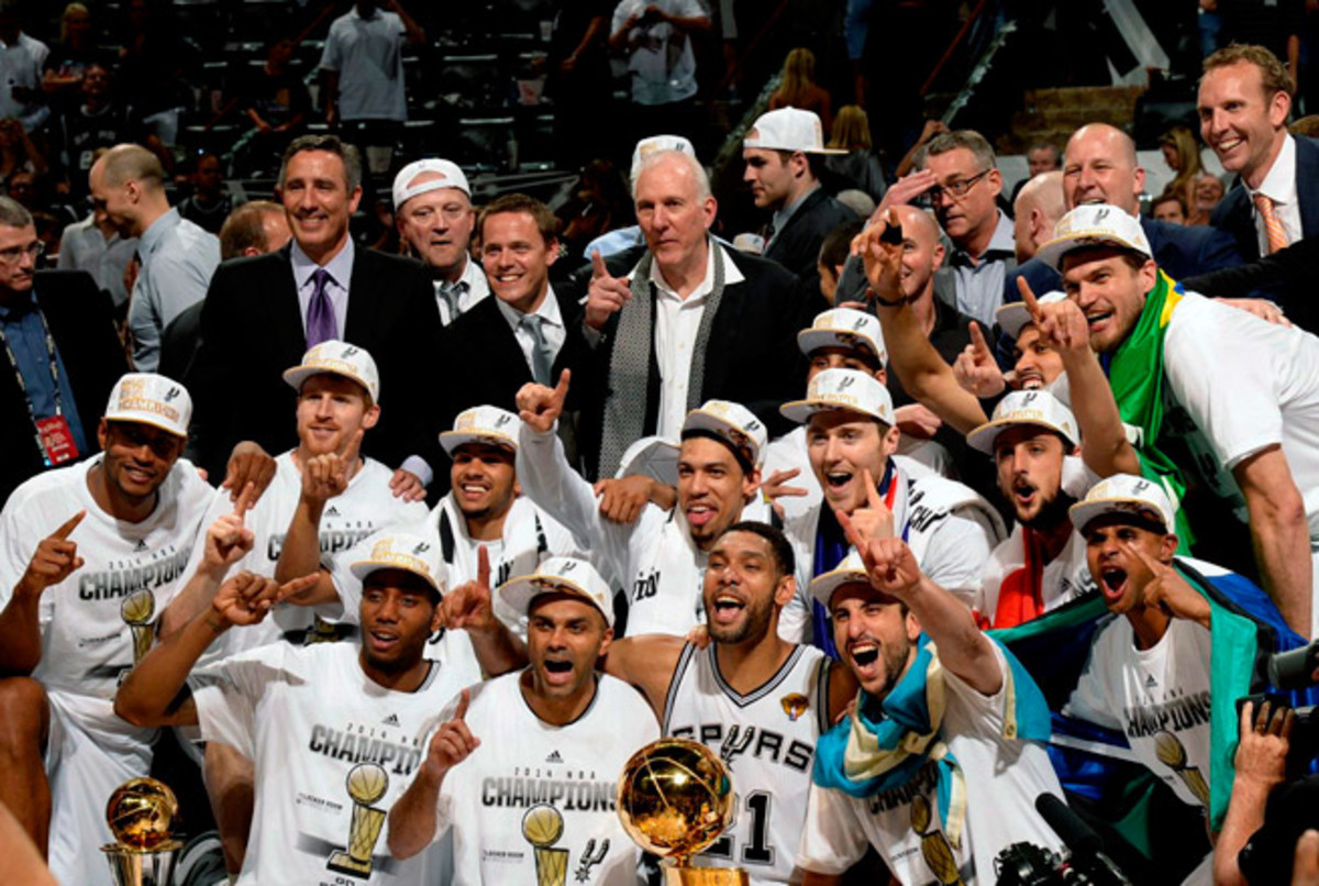 The Spurs dethroned the Heat in five games, winning by the largest margin (70) in NBA Finals history.