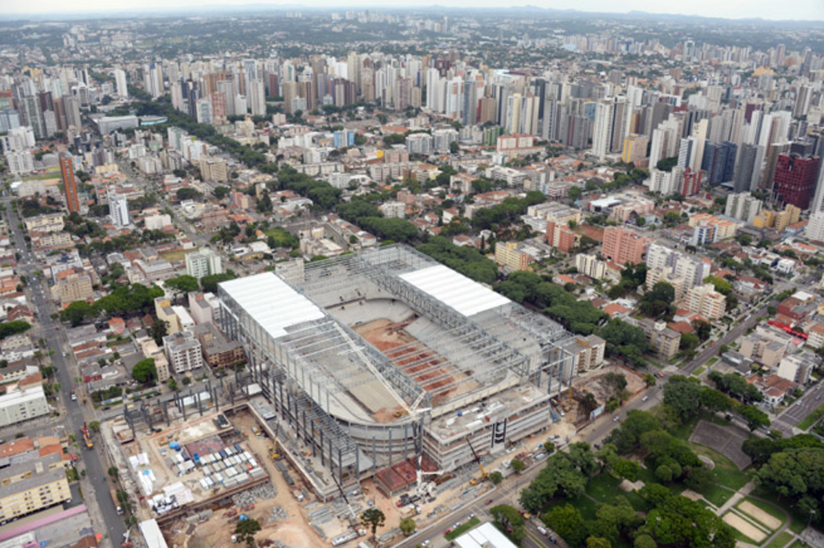 Authorities say construction of Arena da Baixada in Curitiba, Brazil, has progressed significantly and are optimistic the World Cup venue will be ready for this summer.