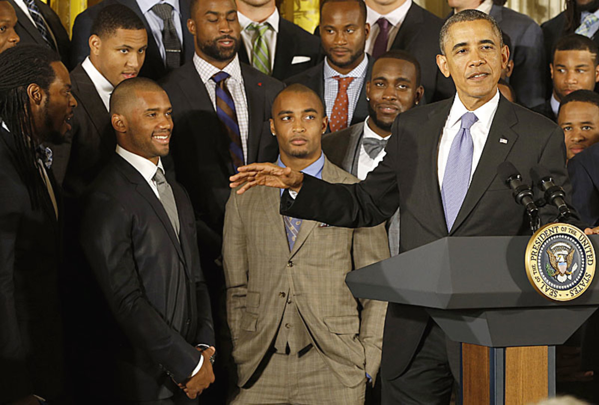 During the Seahawks' White House visit, President Obama pointed out what no one else had brought up in February: An African-American quarterback had won the Super Bowl. (Geoff Burke/USA TODAY Sports)