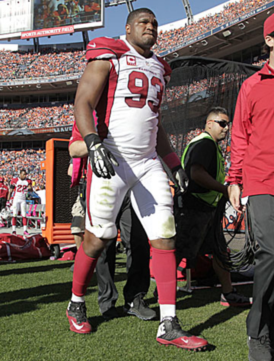 Calais Campbell could miss a month with a sprained MCL. (Joe Mahoney/AP)