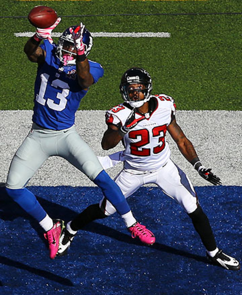 Odell Beckham Jr. caught four balls for 44 yards and a touchdown in his NFL debut. (Al Bello/Getty Images)