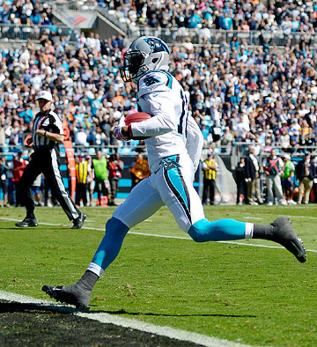 Philly Brown scored the first punt return touchdown for the Panthers since 2003. (Grant Halverson/Getty Images)