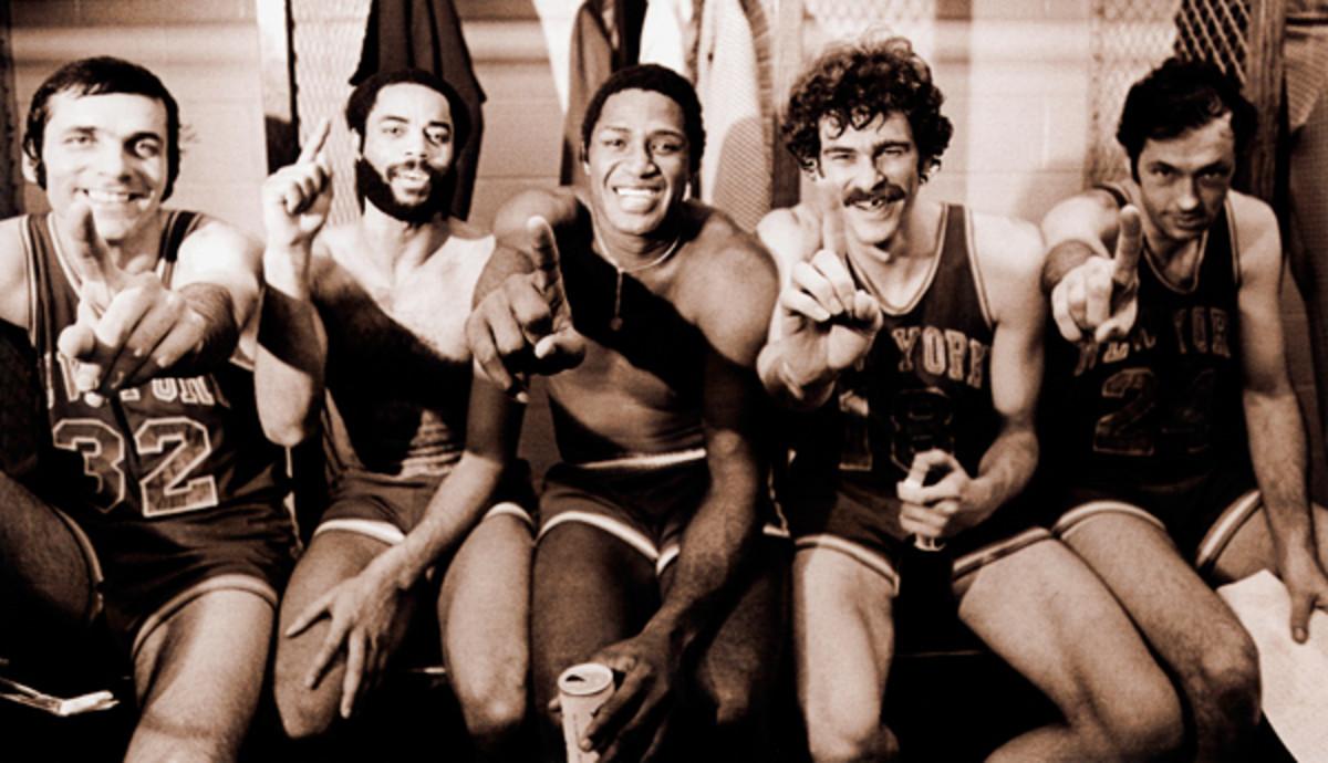 L to R: Jerry Lucas, Walt Frazier, Willis Reed, Phil Jackson & Bill Bradley in 1973