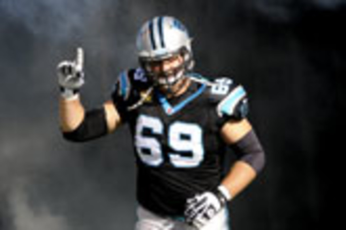 Jordan Gross went to thre Pro Bowls in his 11 NFL seasons in Carolina. (Streeter Lecka/Getty Images)
