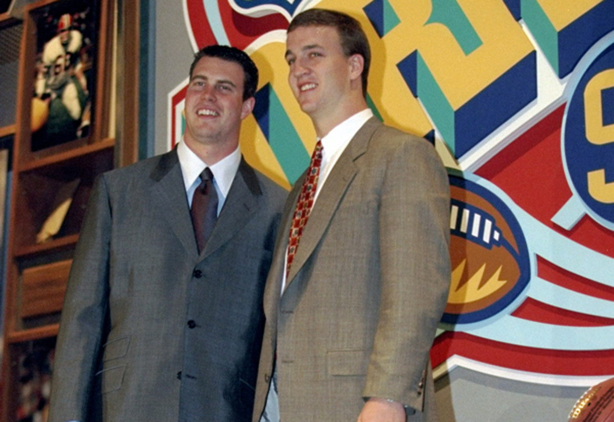 Ryan Leaf and Peyton Manning at the 1998 NFL draft. (Jamie Squire/Getty Images)
