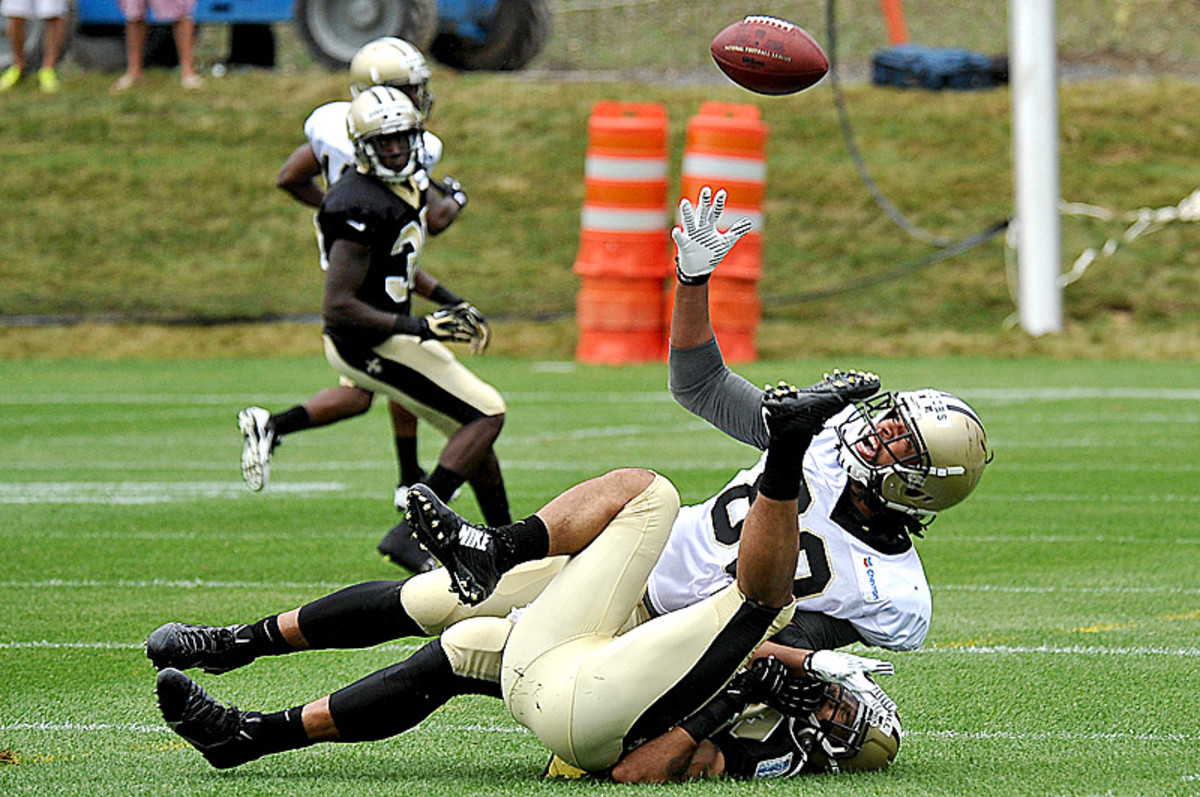 Things got more physical on the first day of padded practices. (Chris Tilley/AP)