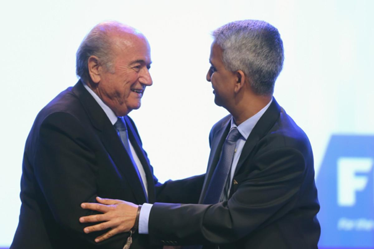 FIFA president Sepp Blater, left, and U.S. Soccer president Sunil Gulati at the FIFA Congress last month in Brazil.