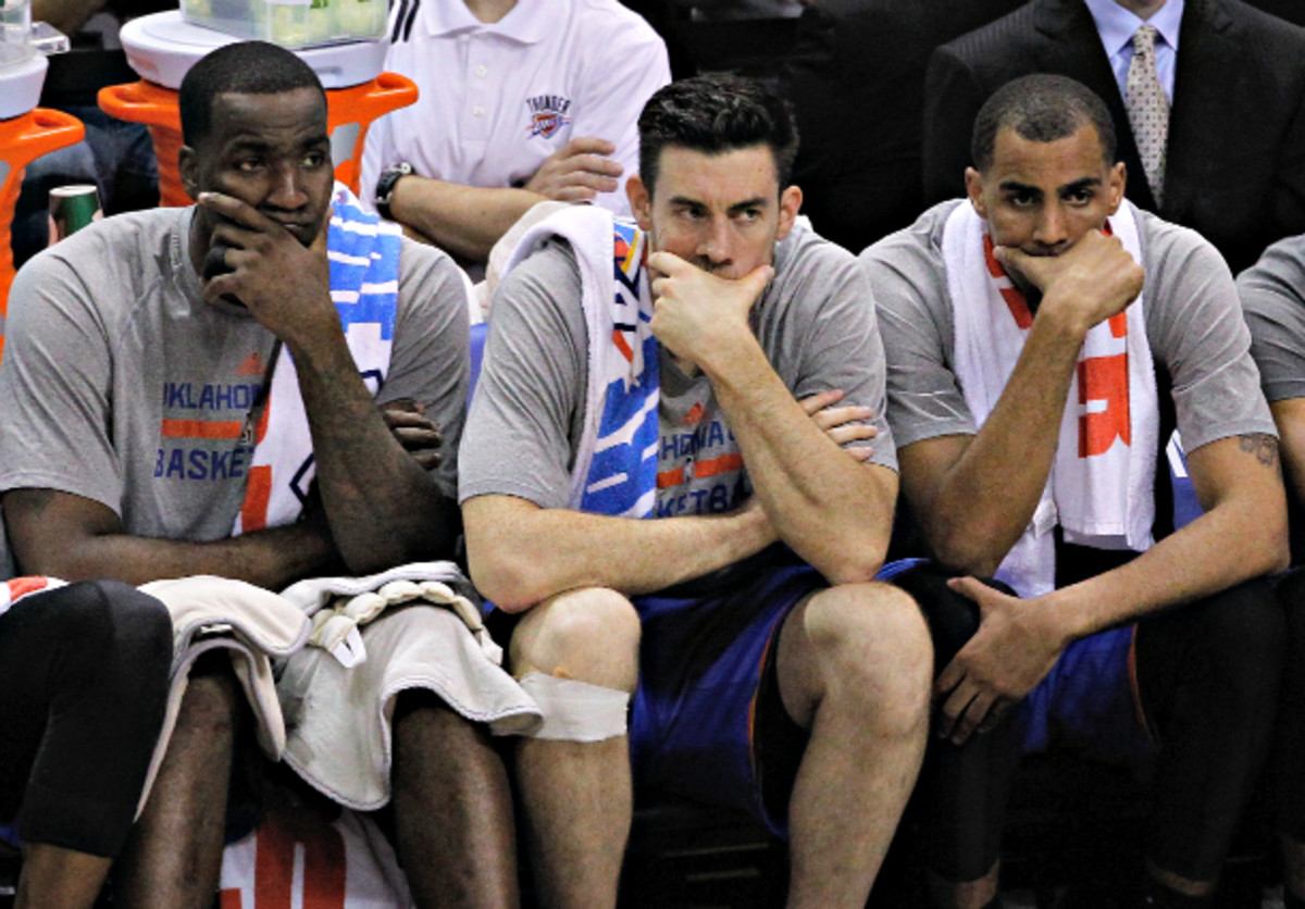 With Serge Ibaka sidelined,  the flaws of Oklahoma City's supporting cast are all too prominent. (Chris Covatta/Getty Images)