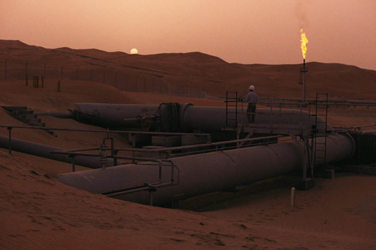 A Saudi Arabia oil field, looking warm and oily