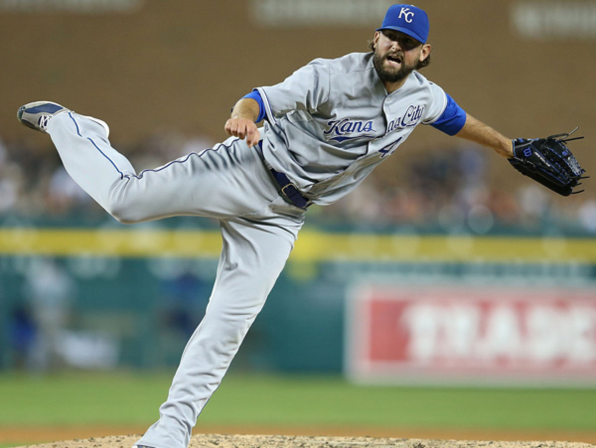 Luke Hochevar will sit out the entire 2014 season after surgery on his right elbow. (Leon Halip/Getty Images)