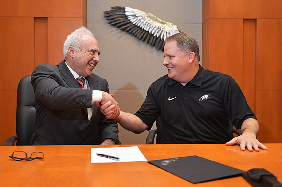 Jeff Lurie (r.) may need a Super Bowl ring to satisfy Eagles fans. Hiring Chip Kelly last offseason might have brought him closer. (Drew Hallowell/Philadelphia Eagles/Getty Images)