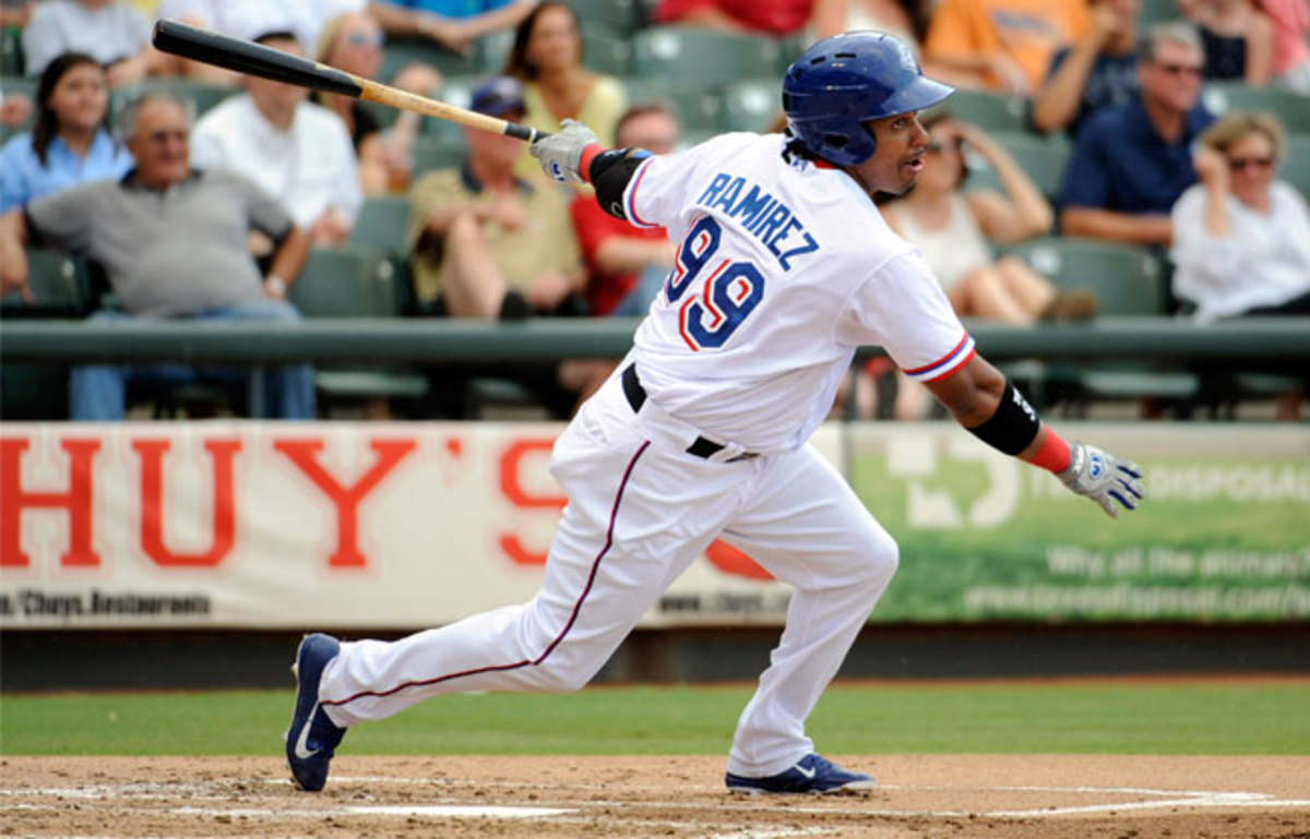 Manny Ramirez was quick to prove he can still play in the bigs, with a single on the first pitch he saw for the Rangers' Triple-A affiliate.