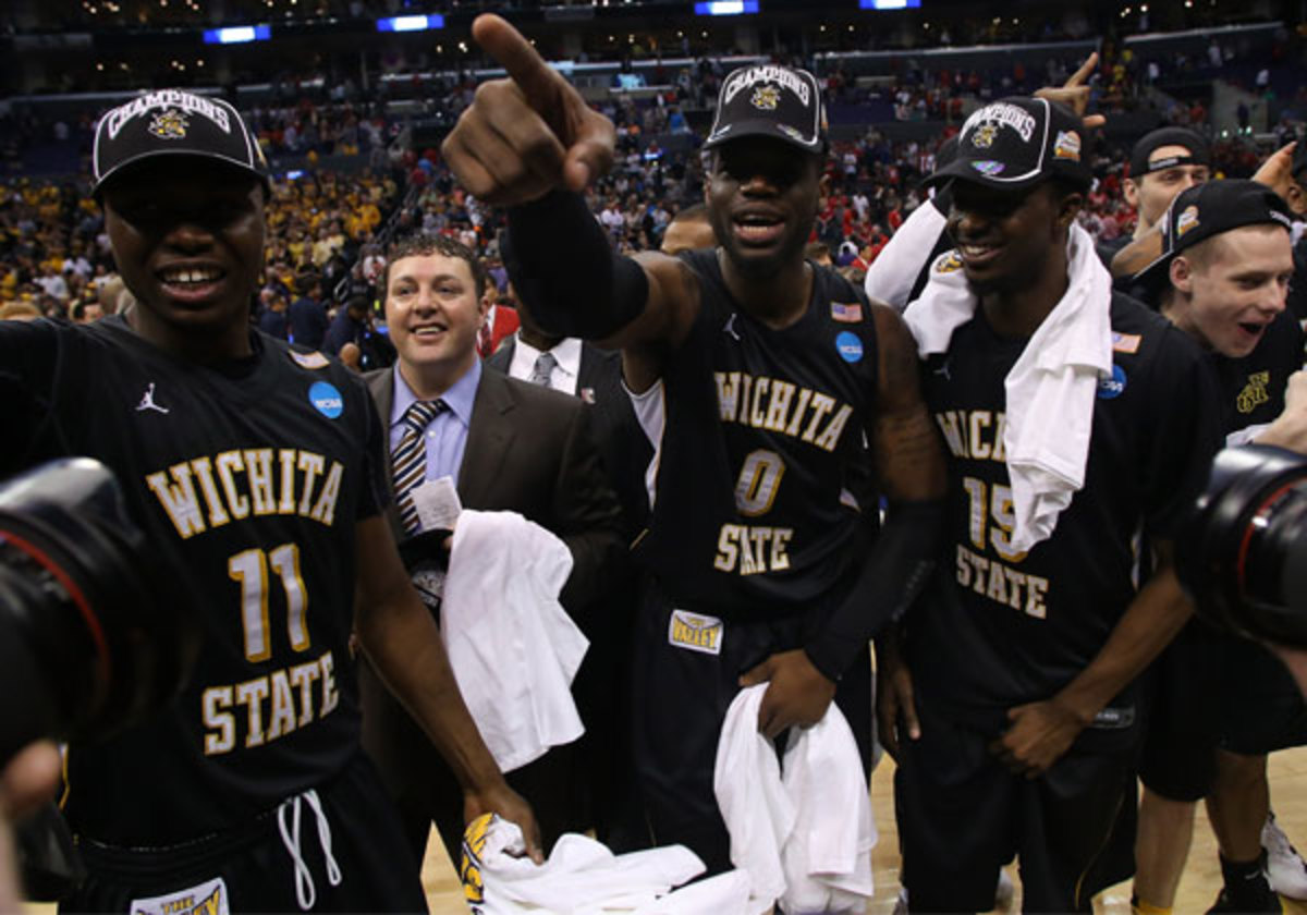Cleanthony Early (11) celebrates with his Wichita State teammates after upsetting the No. 2 seeded Ohio State Buckeyes to reach teh FInal Four. (Jeff Gross/Getty)