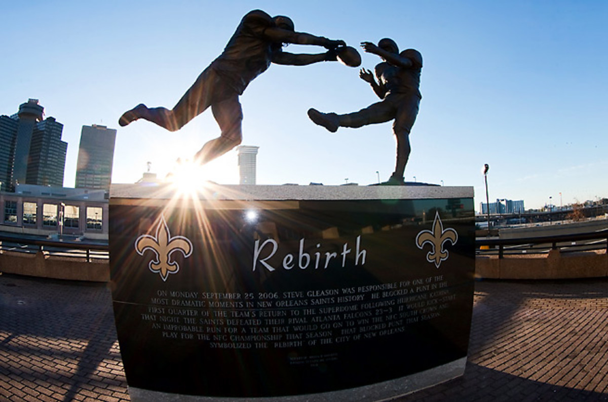 Steve Gleason's punt block in the Saints' 2006 return to the Superdome, one of the franchise's signature moments, was memorialized with a statue.