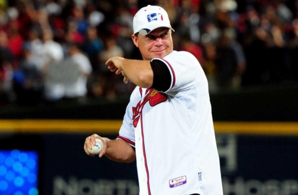 Chipper Jones threw out the ceremonial first pitch of the NLDS. (Scott Cunningham/Getty Images)
