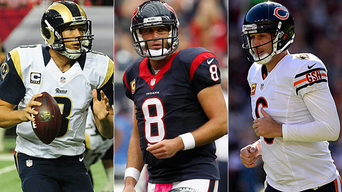Sam Bradford (left), Matt Schaub (center) and Jay Cutler could find themselves on the market in 2014 in what could be one of the busiest offseasons for quarterbacks in recent memory. (Getty Images)
