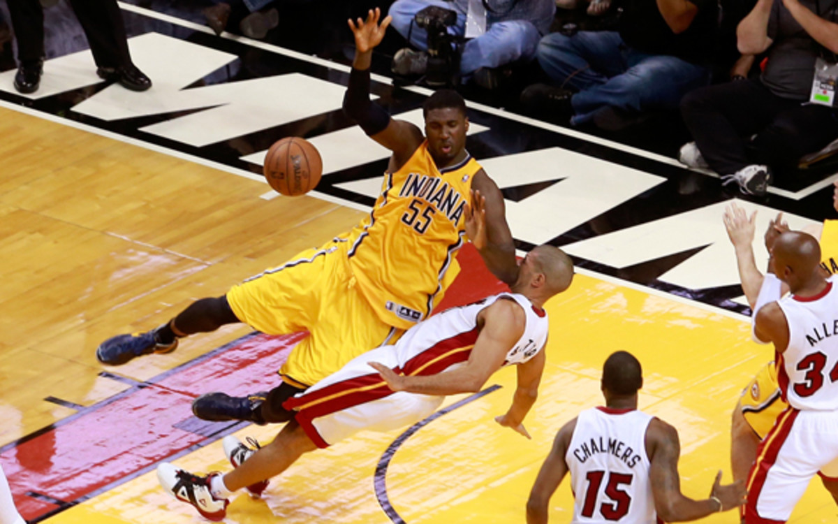 Roy Hibbert and the Pacers reacted to the Heat's physical play in Game 1. (Chris Trotman/Getty Images)