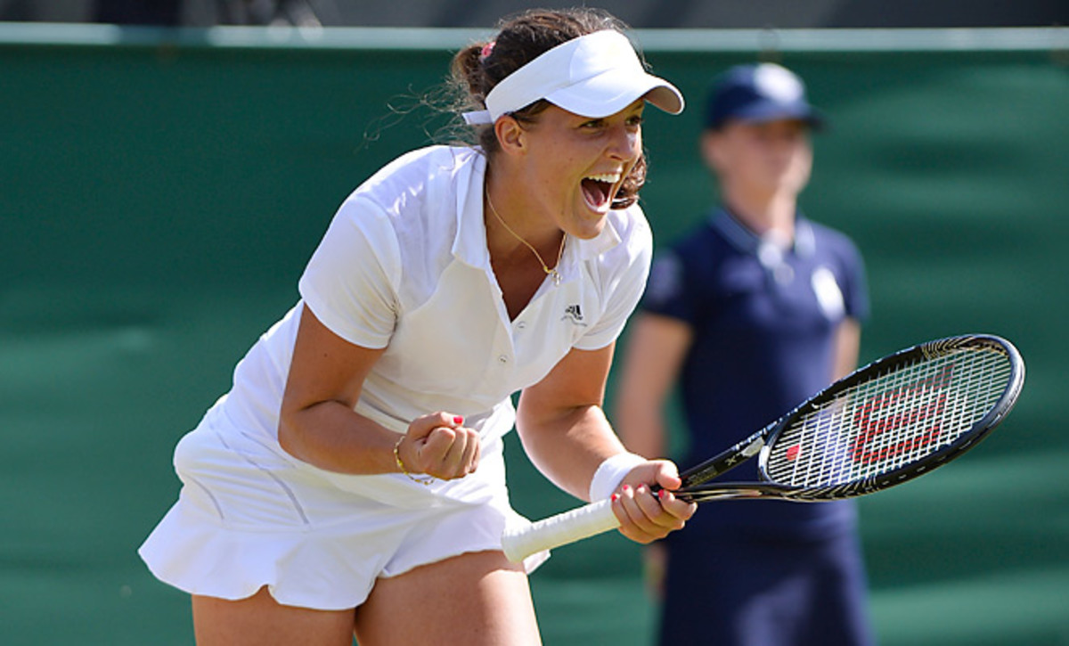 Laura Robson had to rally from a set down to advance to Wimbledon's fourth round Saturday.