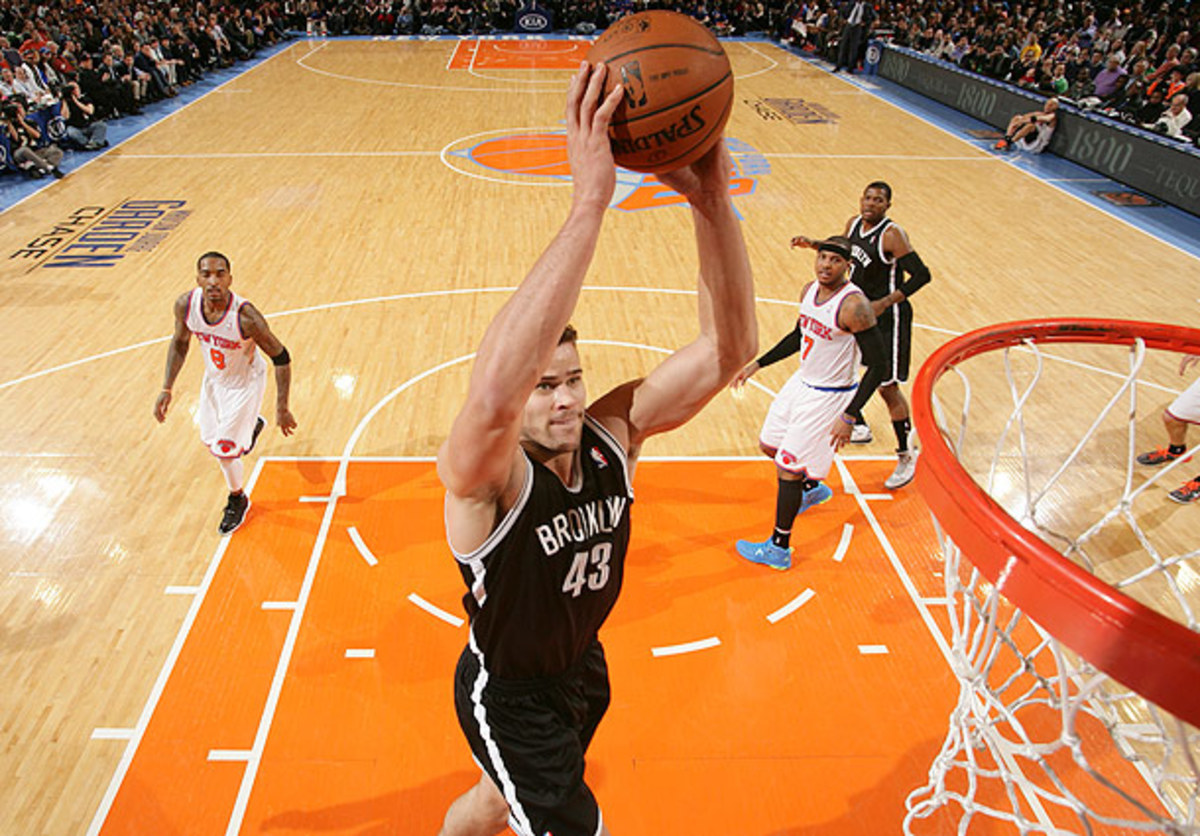 Kris Humphries goes for a dunk against the Knicks