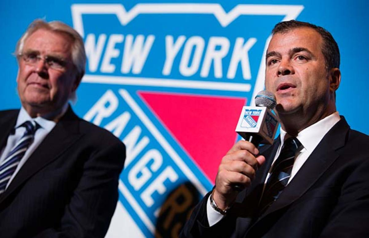 GM Glen Sather (left) thinks Alain Vigneault can help the Rangers play a more offensive game.