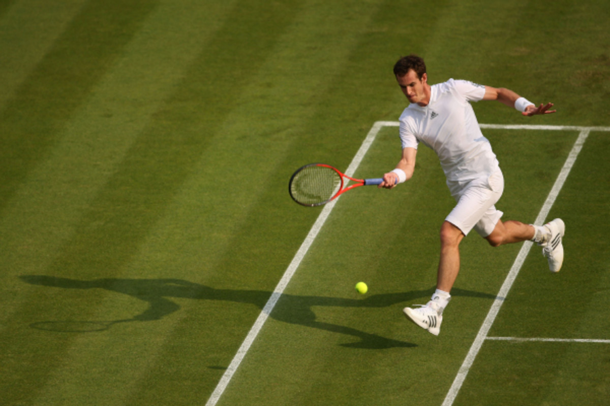 British tennis star Andy Murray during a second-round match at Wimbledon. Murray is ranked No. 2 in the world and said in a recent column he'd be up for taking on women's star Serena Williams. (Clive Brunskill/Getty Images)