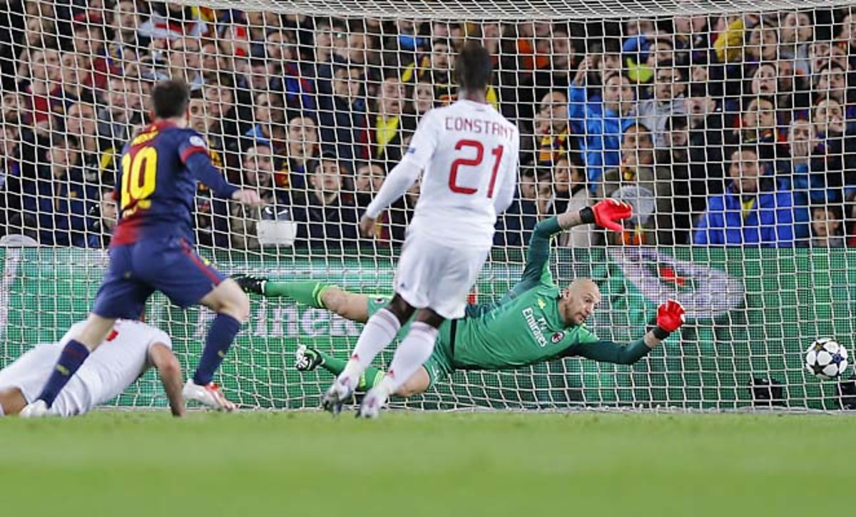 Lionel Messi scores his second goal past AC Milan goalkeeper Christian Abbiati in the 39th minute.