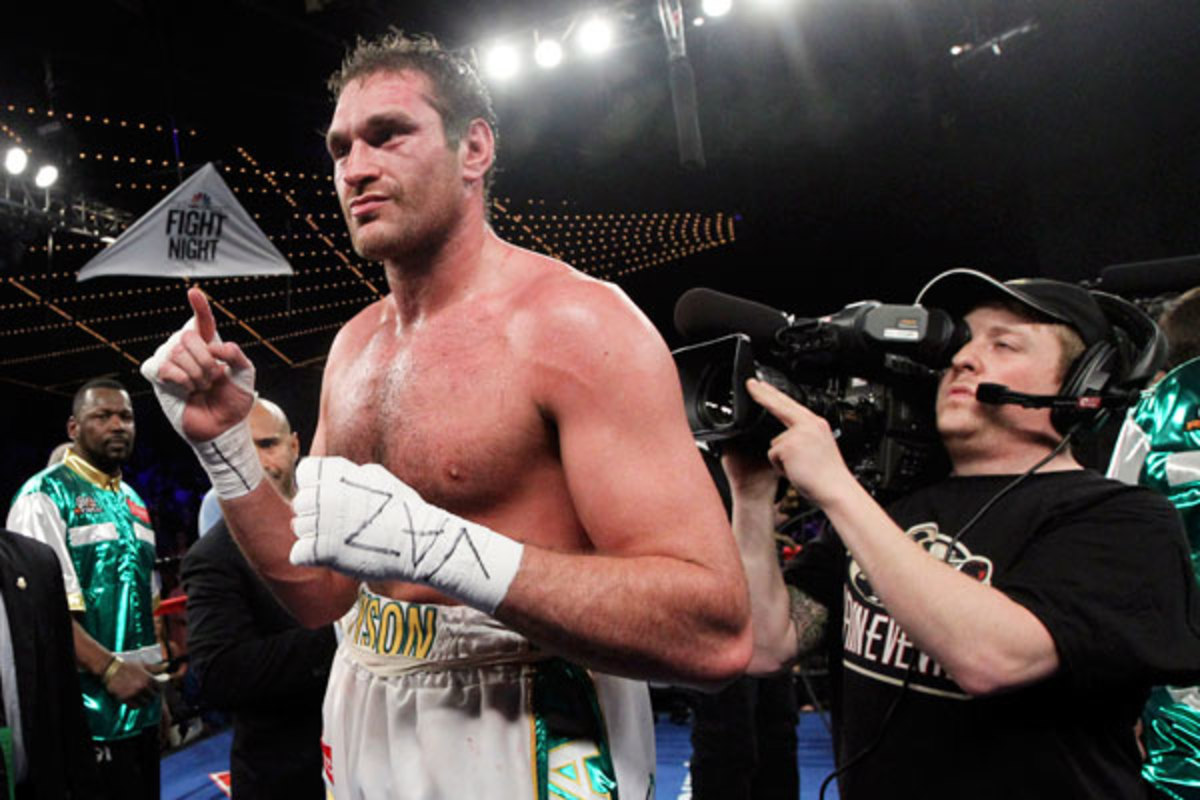 Tyson Fury poses after his seventh round KO vs. Steve Cunningham on April 20 at Madison Square Garden. (AP)