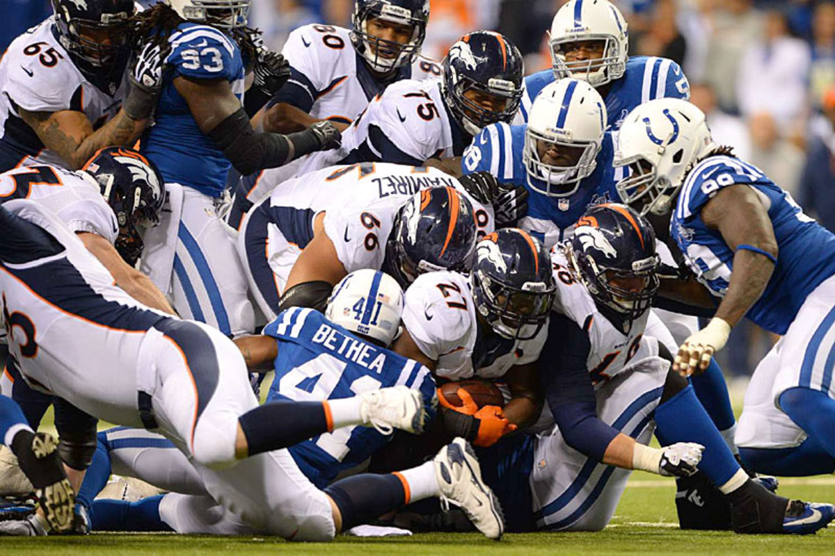 Knowshon Moreno finds the going tough against the Colts. (Andrew Hancock)
