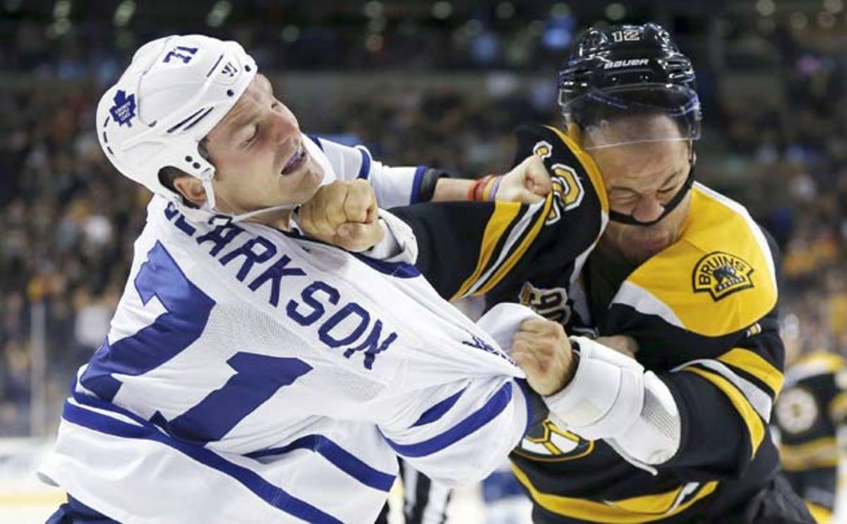 A skilled player, Jarome Iginla (12) doesn't fight often, but he can hold his own when he does.