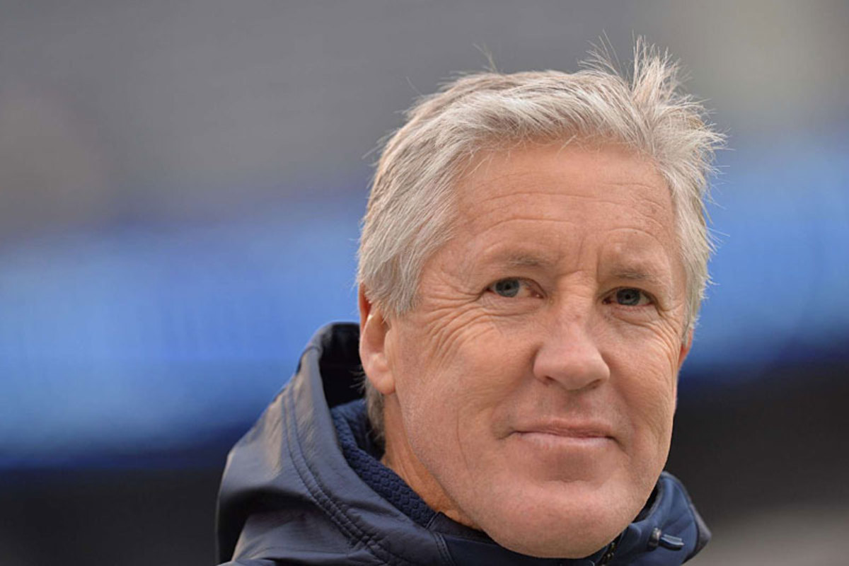 Pete Carroll, looking confident against the Giants. (Carlos M. Saavedra)