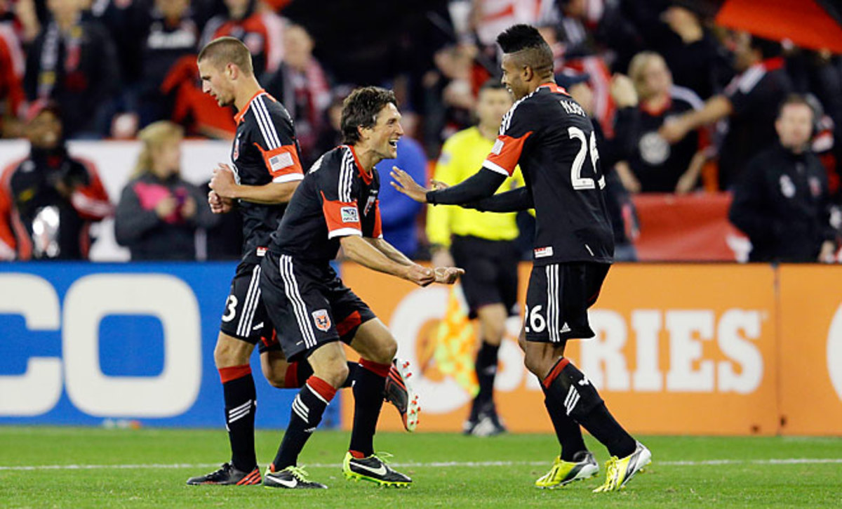 Lionard Pajoy celebrates with teammate John Thorrington after scoring the winning goal for D.C. United against Real Salt Lake Saturday night.