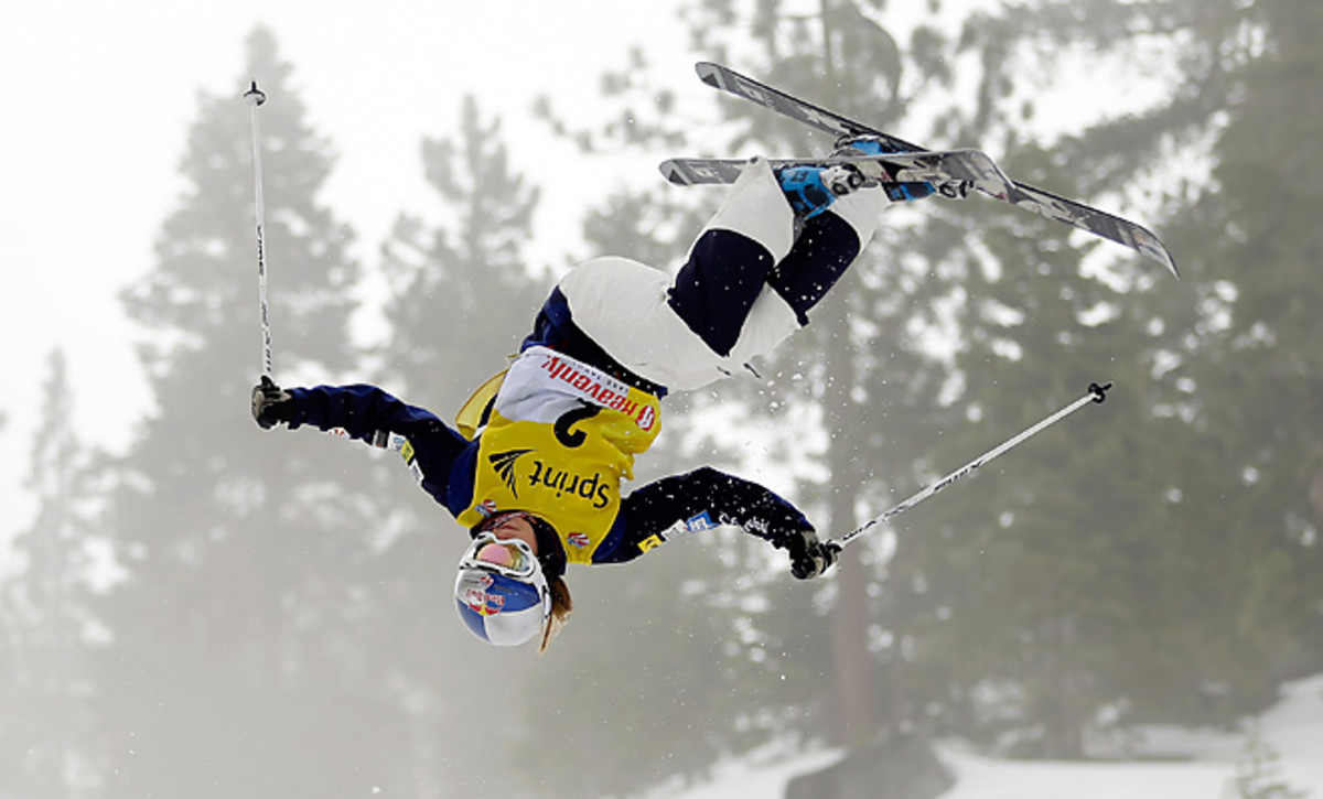 Heather McPhie of Montana defended her title in the freestyle moguls with a layout on her top air.
