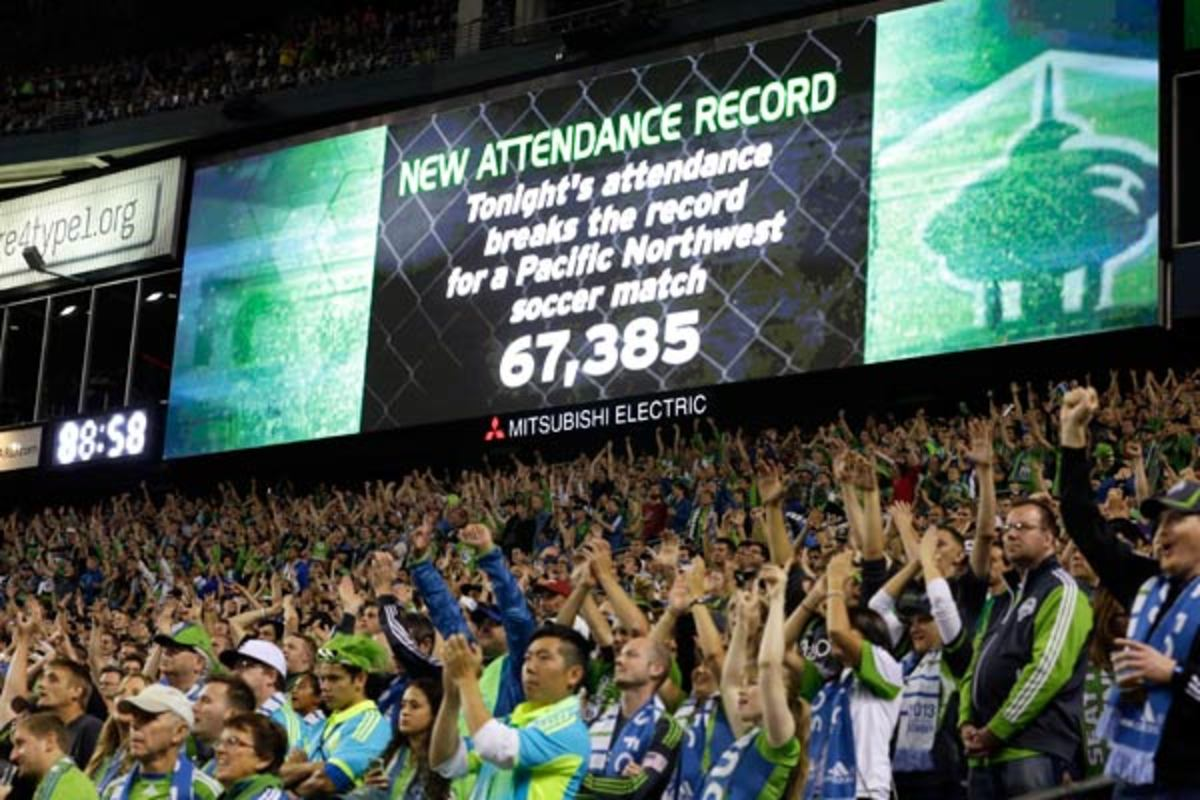 The Sounders broke their attendance record in August against the Timbers. (AP)