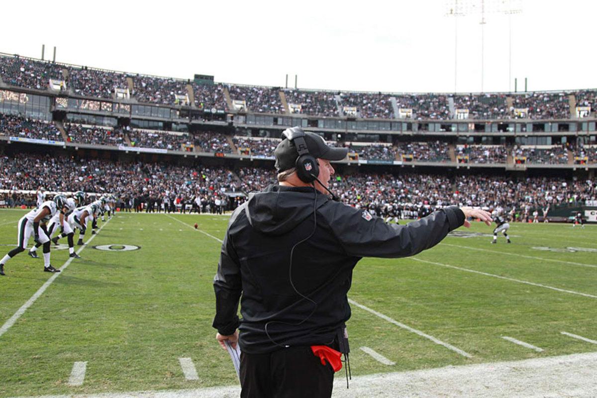 No-look kick: Chip Kelly at Oakland, Week 9. (Jed Jacobsohn)