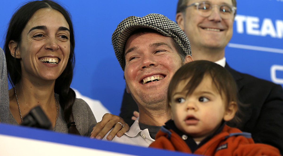 Steve Gleason laughs with his wife, Michel, and son, Rivers.