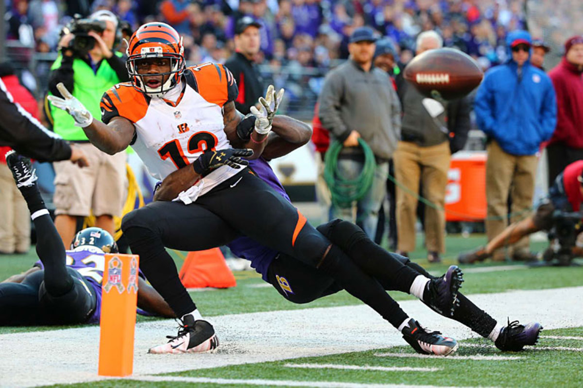 Cincy's Mohamed Sanu pleads for a call at Baltimore. (Simon Bruty)