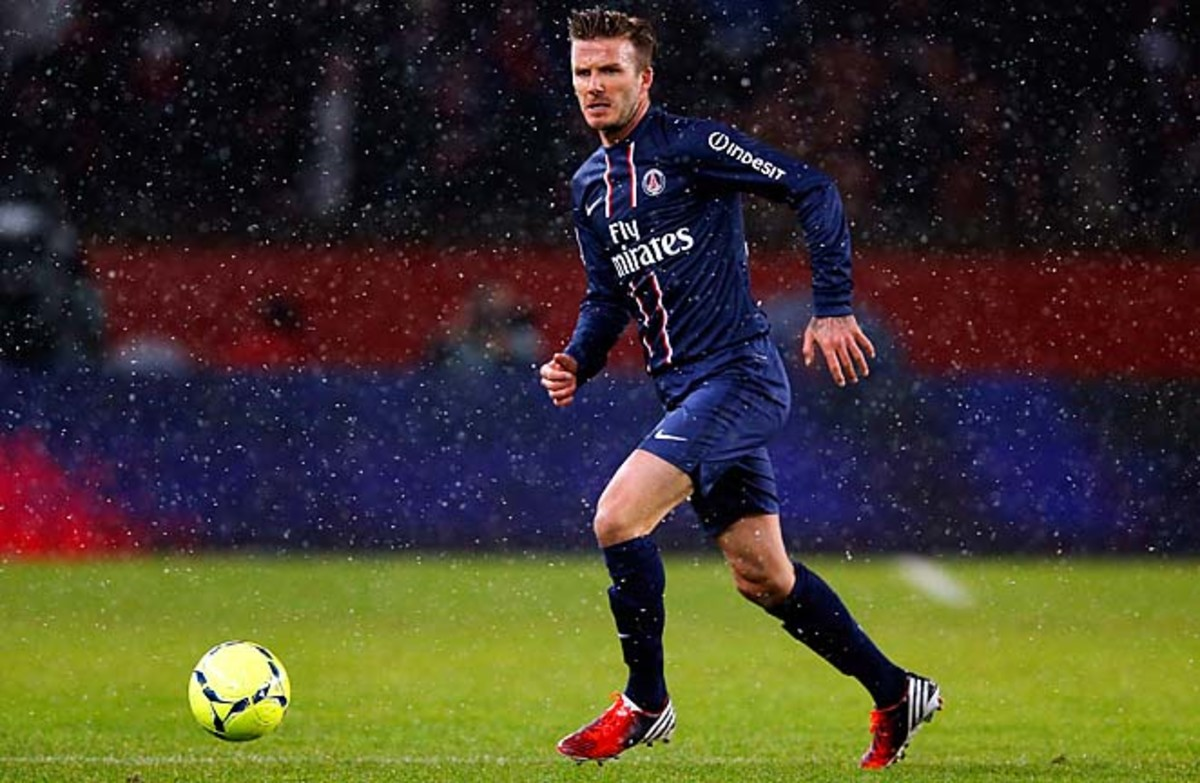 David Beckham made his PSG debut on Sunday, coming on as a substitute.